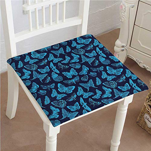 Chair Seat Pads Cushions Time Sketchy Hand Drawn Butterflies Bugs Dragonfly Art Print Light Blue and Dark Square Car and Chair Cushion / Pad With Ties, Soft, For Indoors Or Outdoor 14