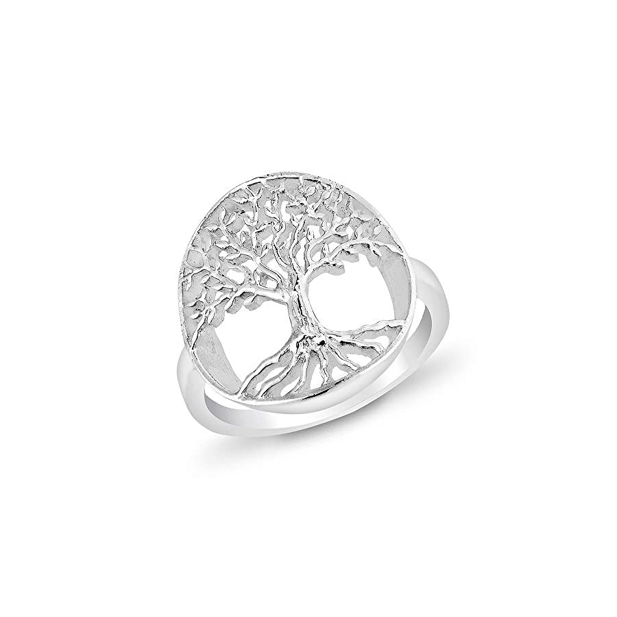 925 Sterling Silver Open Filigree Ancient Tree Of Life Symbol Round Band Ring Size 6, 7, 8