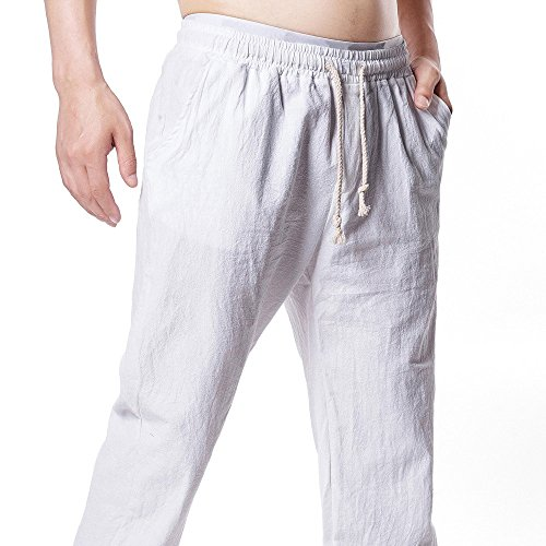Farjing Men's Pant Clearance,Men Summer Solid Linen Elastic Soft Casual Loose Pants(XL,White) -