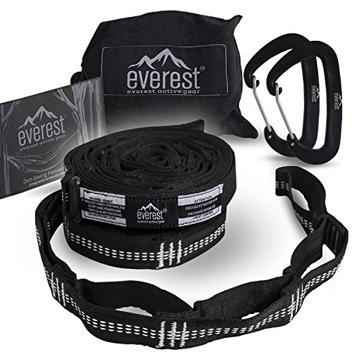 Hammock Straps - Everest | Tree Saver Straps & Aluminum Carabiners Lightweight Triple Stitch Extra Strong No Stretch Polyester Adjustable 14 Loop Suspension System 10 ft Long - Ultra Fine (No Load Stock)