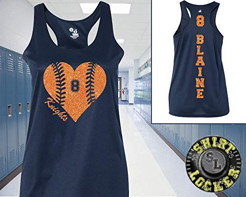 Racerback Heart - Custom Personalized Baseball Glitter Heart Women's Racerback Performance Tank Top Support Your Team Son Any Number Any Colors Baseball Lets Play Ball Spirit Wear