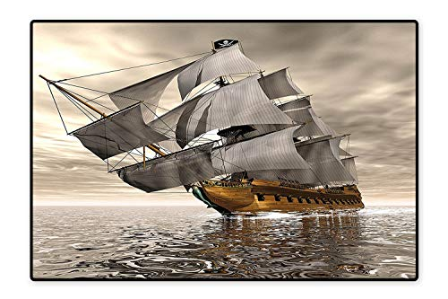 D Style Pirate Ship Sea Historic Vessel Cloudy Sky Voyage Exploration Theme Grey Light Coffee Machine Washable Mats 4'x6' ()