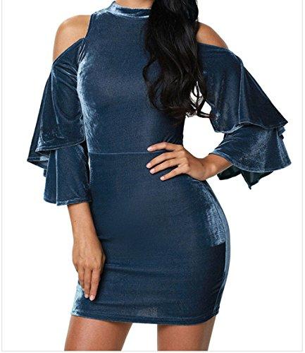 Buy bell sleeve velvet dress - 7