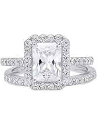 Emerald Cut Solitaire Pave Halo Bridal Engagement Wedding Ring band set 14k White Gold, 2.05CT