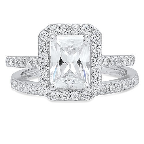 Clara Pucci Emerald Cut Solitaire Pave Halo Bridal Engagement Wedding Ring band set 14k White Gold, 2.05CT