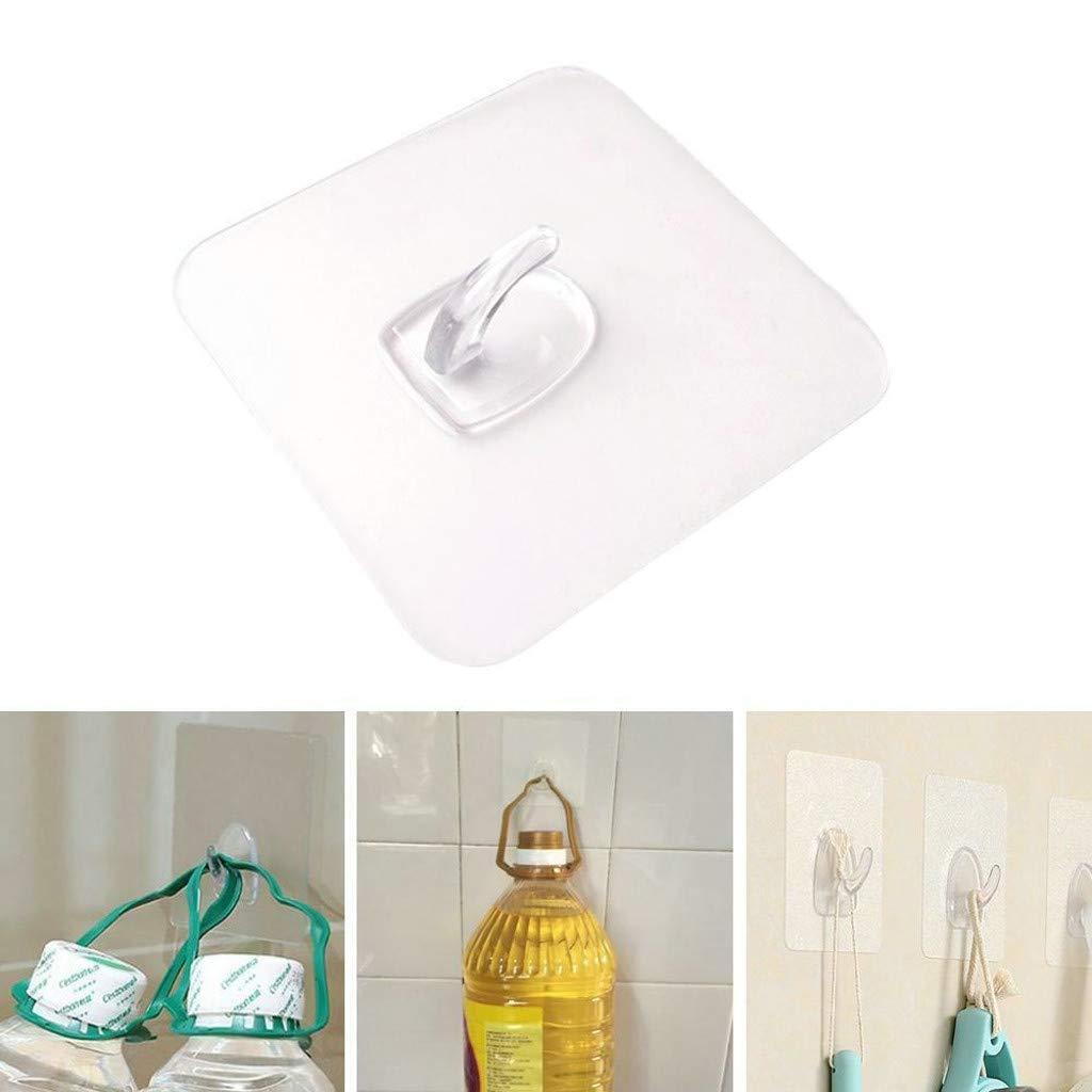 JYS Anti-skid Hooks - 2-20 Pcs Reusable Transparent Traceless Wall Hanging Hooks,Great for Kitchen Toilet Room Hanging Hooks (4Pcs) by JYS (Image #1)