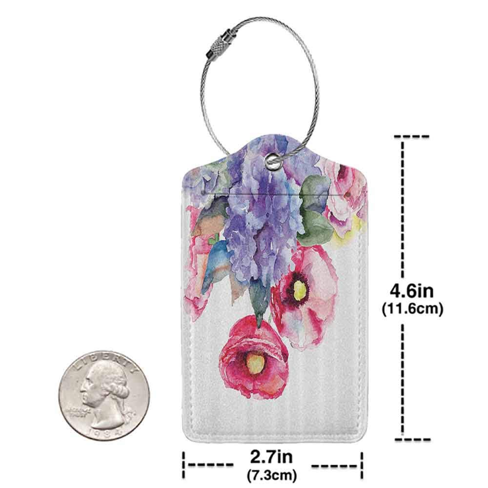 Waterproof luggage tag Watercolor Decor Rose Lavender Flower Summer Petals Paintbrush Eco Botany Branches Artsy Paint Soft to the touch Multi W2.7 x L4.6