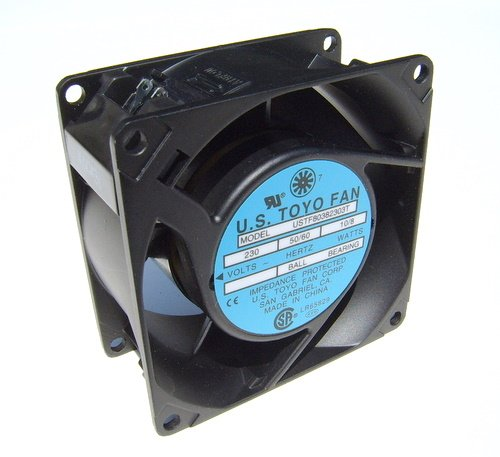 Set of 1 Piece FAN USTF80381153W 115 AC FAN 80mm x 38mm, Frame - Aluminum Alloy, Termination: 2 Lead ()