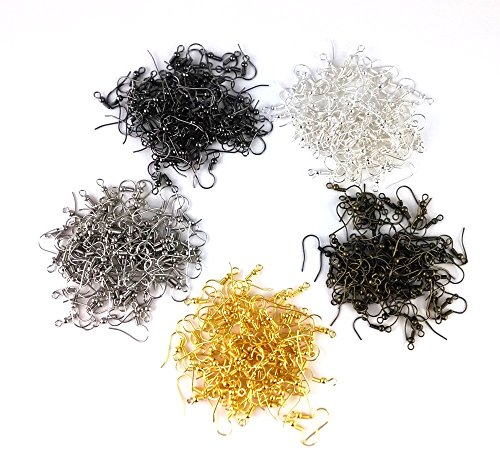 yueton 500pcs Mix Color Metal Wire Bead Earring Hooks ()