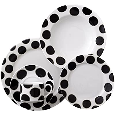Click for CRU by Darbie Angell Black Pearl 5 Piece Place Setting, Black/Platinum/White