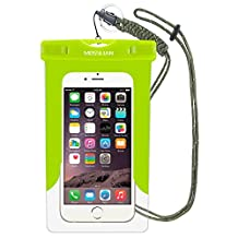 Waterproof Case: MOSSLIAN Universal Waterproof Bag Dry Case Pouch Fits Family Lovers Friends Traveling Swimming Workout Fishing Hiking for iPhone 7, 6S, 6, 6 Plus, 5S, 5C, 4S, HUAWEI Mate 9,Mate 8,P9 upto 6 inch Smartphones(Green (W/O band))