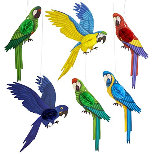 Juvale 6-Pack Tropical Birds Parrot Honeycomb Paper Cutouts Hanging Party Ceiling Decorations ()
