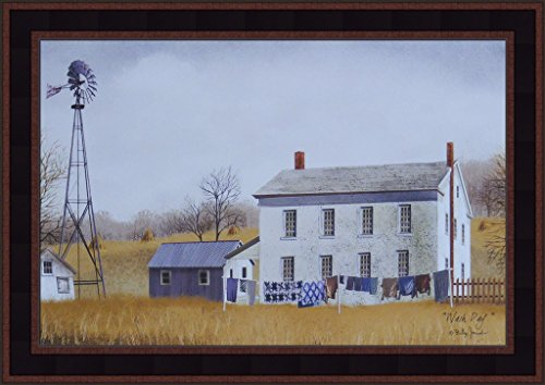 Jacob Windmill (Wash Day by Billy Jacobs 15x21 Country Farmhouse Farm Windmill Laundry Clothesline Primitive Folk Art Framed Print Picture)
