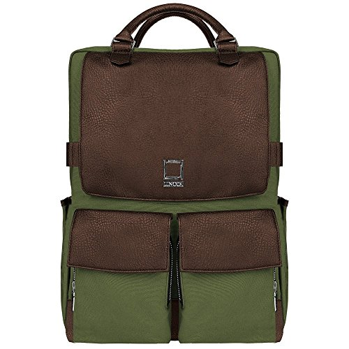 Unisex Water Resistant Canvas College School Laptop Backpack for HP EliteBook, Envy, Mobile Thin Client, ProBook, Spectre x360, Zbook Series 14 inch 15.6 inch Laptop, Forest Green, Espresso Brown