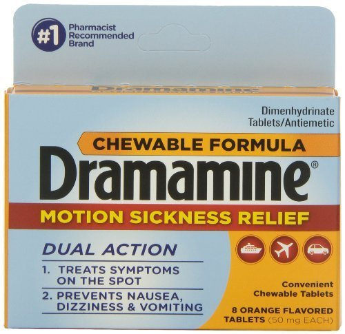 Dramamine Motion Sickness Relief Chewable Formula Orange Flavored Tablets, 8 count - Buy Packs and SAVE (Pack of (Orange Flavored Chewable)