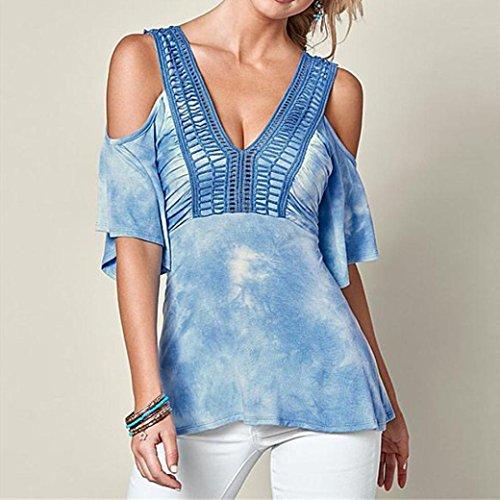 Blusas para mujeres, SHOBDW V-Collar atractivas del camiseta de manga corta de la Camiseta de sólida de Tops Azul