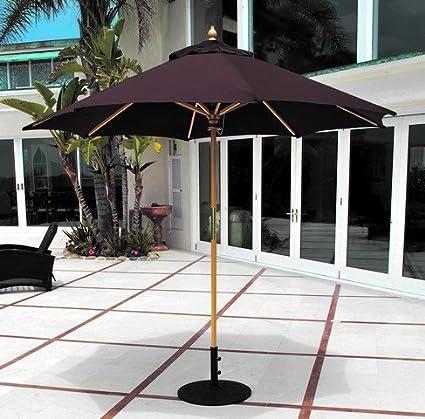 Galtech Classic 9 Ft. Wood Sunbrella Market Umbrella