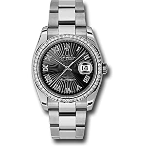 Rolex Datejust 36mm Stainless Steel Case, 18K White Gold Bezel Set With 52 Brilliant-Cut Diamonds, Black Sunbeam Dial, Roman Numeral and Stainless Steel Oyster Bracelet.