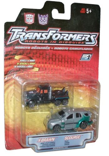 Transformers Robots In Disguise Year 2001 2 Pack 3 Inch Action Figures - Autobot Sport Utility Vehicle X-Brawn and Decepticon Truck Scourge