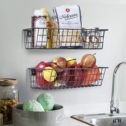 3 Set Hanging Wall Basket for Storage, Wall Mount Steel Wire Baskets, Metal Hang Cabinet Bin for Organizer, Rustic Farmhouse Decor, Kitchen Bathroom Accessories Organizer, Industrial Gray, Medium    Product Description