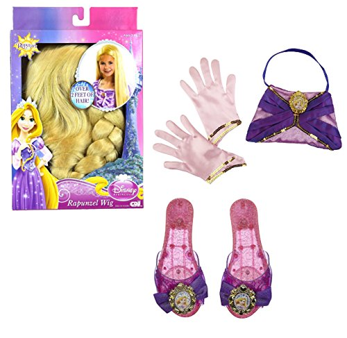 Disney Princess Tangled Rapunzel Dress Up Costume Accessories Set - Wig, Enchanted Evening Purse, Gloves, and (Sacagawea Costumes For Kids)