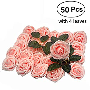 Lmeison Artificial Flower Rose, 50pcs Real Looking Artificial Roses w/Stem for Bridal Wedding Bouquets Centerpieces Baby Shower DIY Party Home Décor,Pink 81