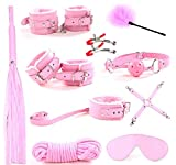 PU 10pcs Fur Leather Handcuffs Wrist Cuffs and Blindfold Eye Mask Under Bed Restraint Kits (Pink)