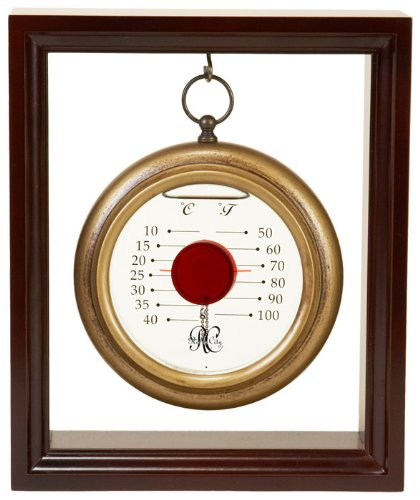 River City Clocks Hanging Galileo Thermometer with Cherry Finished Wood Frame - 9 Inches Tall - Model # L4030R