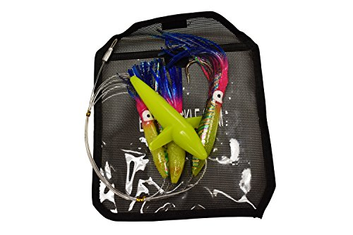(EAT MY TACKLE Daisy Chain Rigged Rainbow Squid and Bird Fishing Lure)