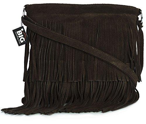 ASHLEY Large Womens Bag Size Shoulder LIATALIA Leather Tassle Coffee Suede Fringe z0wfq