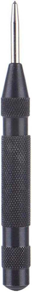 Pandamama 5 Inch Black HSS Automatic Drill Center Pin Punch Spring Loaded Center Punch for Marking Starting Holes Tool