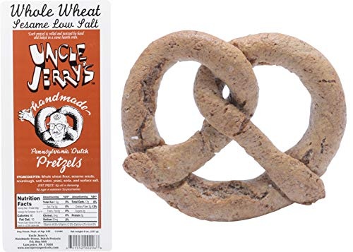 Uncle Jerrys Pretzels, Handmade Pennsylvania Dutch Pretzels, 8 oz. Bags (Whole Wheat Sesame Low Salt, 2 Bags)