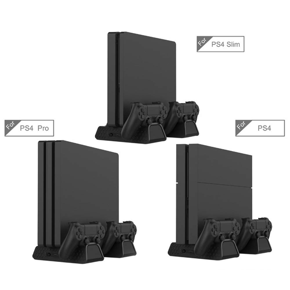 Leslaur Multifunctional Heat Dissipation Base USB Powered Dual Charging Dock Gamepad Charger Games Cards Storage Display Stand for PS4/ PS4 Slim/PS4 Pro by Leslaur (Image #3)