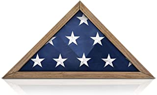 product image for Solid Wood Military Flag Display Case for 9.5 x 5 American Veteran Burial Flag (Weathered Wood)