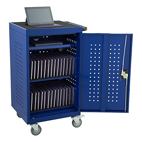 Structure Series - Learniture LNT-NOR1008BL-SO Structure Series 30-Device Tablet Charging Cart w/ Electric (Assembled), Blue