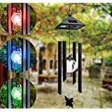 Hanging Wind Chimes Solar Powered Colour Changing LED Light Garden Windchimes Garden Yard Decoration Fashion Solar (Black)