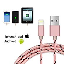 2-1Multifunction Lightning USB Cable,Jiaoly Braided Nylon Rope Data Cable Support for Apple and Android Systems Double Side can Charge and Fast Data Transfer (Pink)