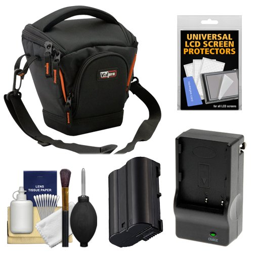 (Vidpro TL-25 Top-Load DSLR Camera Holster Case (Small) with EN-EL15 Battery & Charger + Accessory Kit for Nikon D7100, D7200, D610, D810)