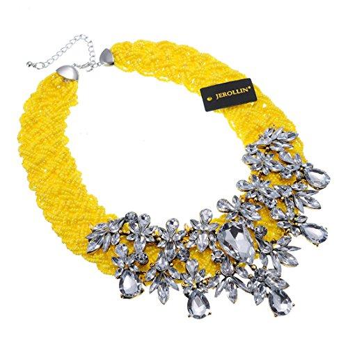 Fashion Jewelry Resin Acrylic Cluster Chain Choker Collar Bib Statement Pendant Bib Necklaces (Yellow)