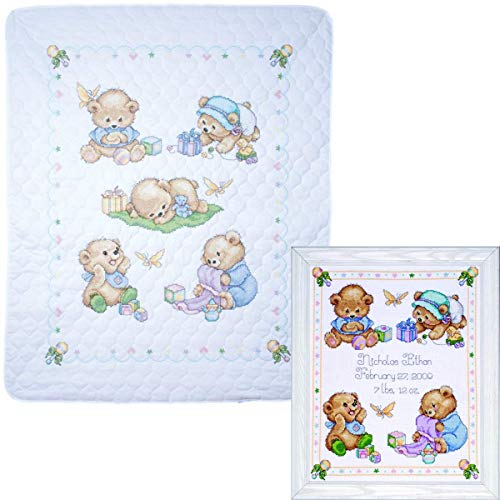 Tobin - Baby Bears Nursery Decor Cross Stitch - 2 Kits: Baby Bears Baby Quilt T21705 and Baby Bears Sampler T21711 with 2 Gift - Rattle Duckie