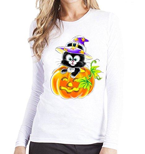 Clearance Halloween ! JSPOYOU Women Long Sleeve T-Shirt Plus Size Pumpkin Black Cat Print Blouse