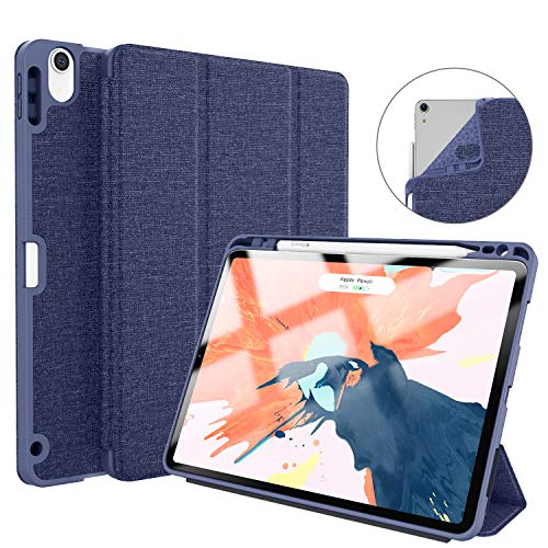 Soke iPad Pro 11 Inch 2018 Case with Pencil Holder, Premium Trifold Case [Strong Protection + Apple Pencil Charging Supported], Auto Sleep/Wake, Soft TPU Back Cover for New iPad Pro 11(Dark Blue)