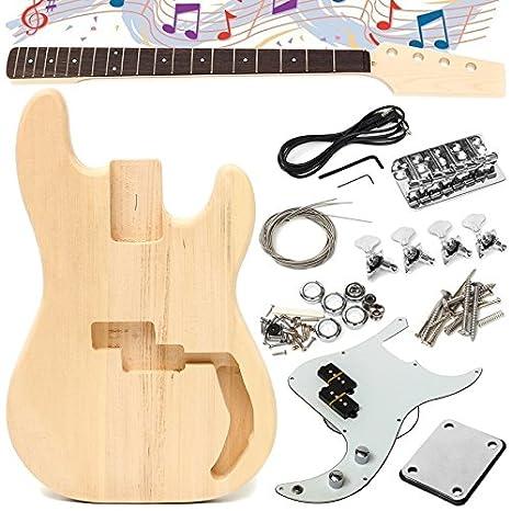 Taihang Guitarra eléctrica de bricolaje sin terminar Cuerpo de madera de tilo con cadena de cuello: Amazon.es: Instrumentos musicales