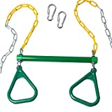 Trapeze Bar with Rings for Swing Set – Outdoor Playground Equipment Swing Bar