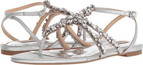 - Badgley Mischka Women's Hampden Flat Sandal, Silver, 6 M US