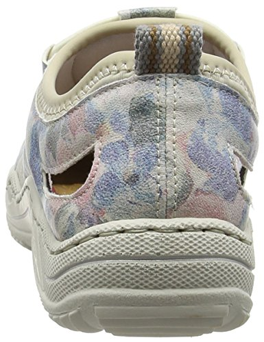 Women multi beige Basses Low Rieker L0561 Blanc Baskets Femme ice top blau 80 Hqvx5Ow