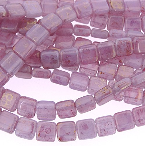 (CzechMate 6mm Square Glass Czech Two Hole Tile Bead - Pink/Topaz Luster Milky Alexandrite)
