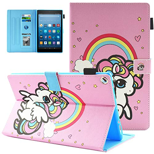 UUcovers Kindle Fire HD 8 Case (Fit for 2018/2017/2016), Slim Folding Stand AUTO WAKE/SLEEP Wallet Case with Cards/Cash Holder for Amazon Kindle Fire HD 8-Rainbow Unicorn