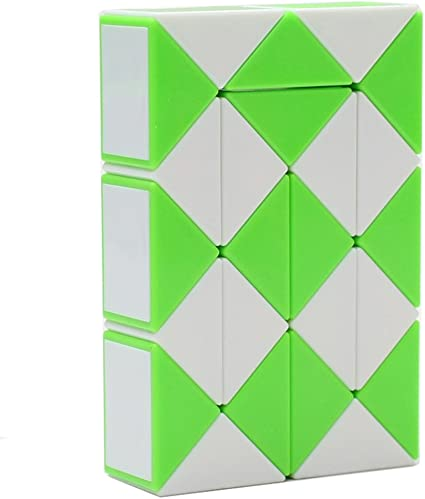 HJXD globle Magic Snake Twist Puzzle Twisty Toy Collection 24 Wedges Magic Ruler Green