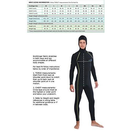 Mens UV Protection Stinger Suit Dive Skin with Hood Chlorine Resistant Black Silver